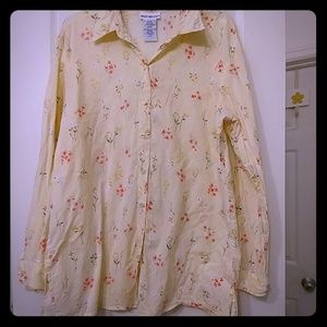 Pale yellow floral long sleeve button up
